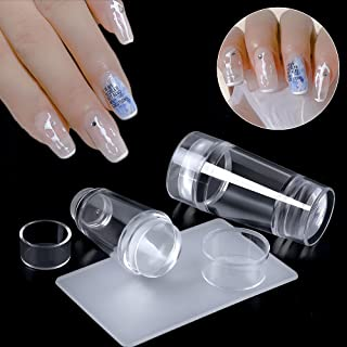 Double head Nail Art Stamper Clear Nail Stampers Kit with Scraper Transparent Jelly Soft Silicone Nail Print Stamper Image...