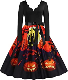 Blingko Kleider Damen Mode Kostüm Kürbis Muster 1950er Jahre Hausfrau Rundhals Langarm Lässigmit Halloween Print Kleid Rei...