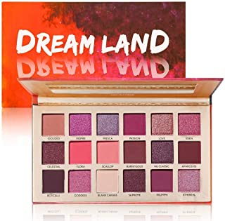MAYCREATE® UCANBE Pro 18 Shimmer and Matte Pigmented Metallic Glitter Eye Shadow Makeup Pallet-Pink Peachy Red Brown