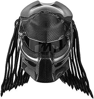 LMJ QXhat Motorrad Predator Helm Carbon, Full Face Iron Warrior Herrenhelm, DOT Safety Certified Full Face Modular Helm (Rot, Blau, Schwarz).