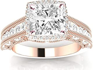 1.75 Carat GIA Certified Cushion-Cut 14K White Gold Vintage Halo Style Channel Set Round Brilliant Diamond Engagement Ring Milgrain (G-H Color SI1-SI2 Clarity Center Stones)