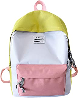 Wultia - Backpack Women Couple Schoolbag Travel Hiking Bag Color Block Backpack Collection Luminous Bag Mochila Mujer Green