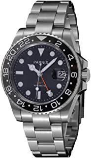 Whatswatch 40mm parnis Black dial Orange GMT SEA Ceramic Bezel Automatic Mens Watch ZA-241