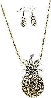 Prettyia Fashion Boho Pineapple Necklace Earrings Set Tassel Pendant Sweater Chain