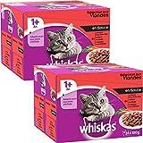 Whiskas - Alimento humedo para gatos, en salsa (Carne De Res, Pollo, Pavo, Cordero), 48 pa...