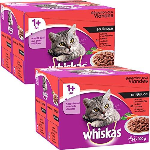 Whiskas - Alimento humedo para gatos, en salsa (Carne De Res, Pollo, Pavo, Cordero), 48 paquetes x 100g