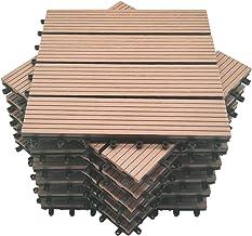 Mocosy 11pcs 1m² WPC in elkaar grijpende Decking Tegels Tuin, Terras, Balkon, Gazon Houten Plastic Samengestelde Deck Vloe...