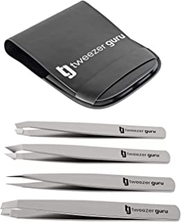 Tweezers Set 4-piece - Tweezer Guru Stainless Steel Slant Tip and Pointed Eyebrow Tweezer Set - Great Precision for Facial Hair, Ingrown Hair, Splinter, Blackhead and Tick Remover (Silver)