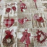 Kt KILOtela Tela de loneta Estampada Navidad - Retal de 100 cm Largo x 280 cm Ancho | Tejido Nordik Navidad - Rojo, Verde ─ 1 Metro
