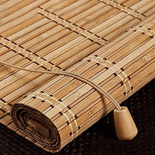 Estor de bambú,Persianas Enrollable de bambú Natural,Persiana de Bambú Para Interior,Cortina Opacas,Cortinas Privacidad Protección,Retro Decoración,Para Puertas/Ventanas/Balcones (90x220cm/36x87in)