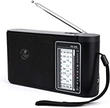 Portable AM FM Shortwave Radio, Compact Transistor Radios with Rechargeable Battery or Operated by Dry Battery (D Cell Batteries x 2pcs, Battery not Included)