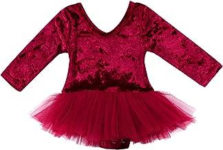 Baby Girl's Romper Dress Wine Red Soft Velvet Long Sleeve Bodysuit Clothes Tulle Skirt Outfits