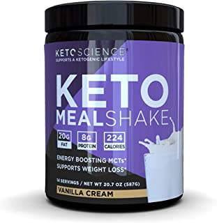 Keto Science Ketogenic Meal Shake Vanilla Dietary Supplement, Rich in MCTs and Protein, Paleo Friendly, Weight Loss, 14 se...