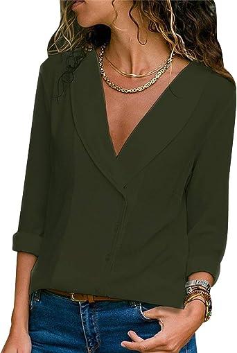 Blusas Mujer Escote V Blusa Manga Larga Camisas Señora Top ...