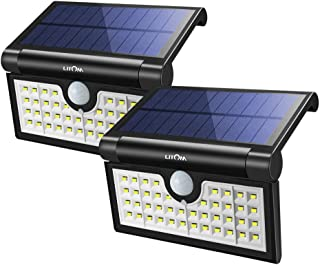 LITOM Foldable 42 LED Solar Lights Outdoor, Motion Sensor Solar Lights, Super Bright Waterproof Solar Portable Motion Sensor Lights for Front Door, Backyard, Garage, Porch(2 Pack)