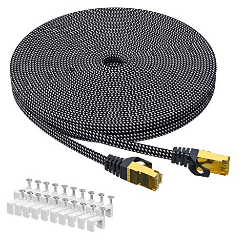 Cat 7 Ethernet-Kabel 10M,ARISKEEN Cat7 Geflochten Flach Hochgeschwindigkeit (10Gbps 600Mhz/s) Gigabit Rj45 STP Geschirmtes Internet Netzwerk Lan Patch Kabel Draht für Router Modem Patch Panel