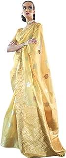 Indian Traditional Gorgeous Sare Zari Pallu & Border Tissue Organza weaving Handloom Saree Blouse 5593