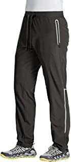 MAGCOMSEN Men's Workout Gym Joggers with Zipper Pockets Reflective Visibility Quick Dry Running Pants Sweatpants