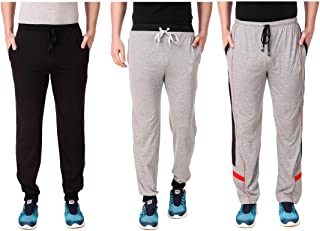 Cynak Men's Cotton Trackpants with Both Side Zipper Pockets (Multi Color) (XXL Size) (Pack of 3 Trackpants)