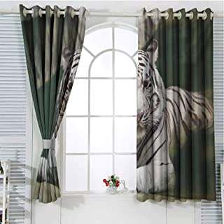 FreeKite Tiger Living Room Curtains 2 Panel Sets Bengal Symbol Swimming White Beast with Black Sprites Large Cat Animals Having Fun Home Decor Blackout Curtains W62 x L72 Inch Teal White