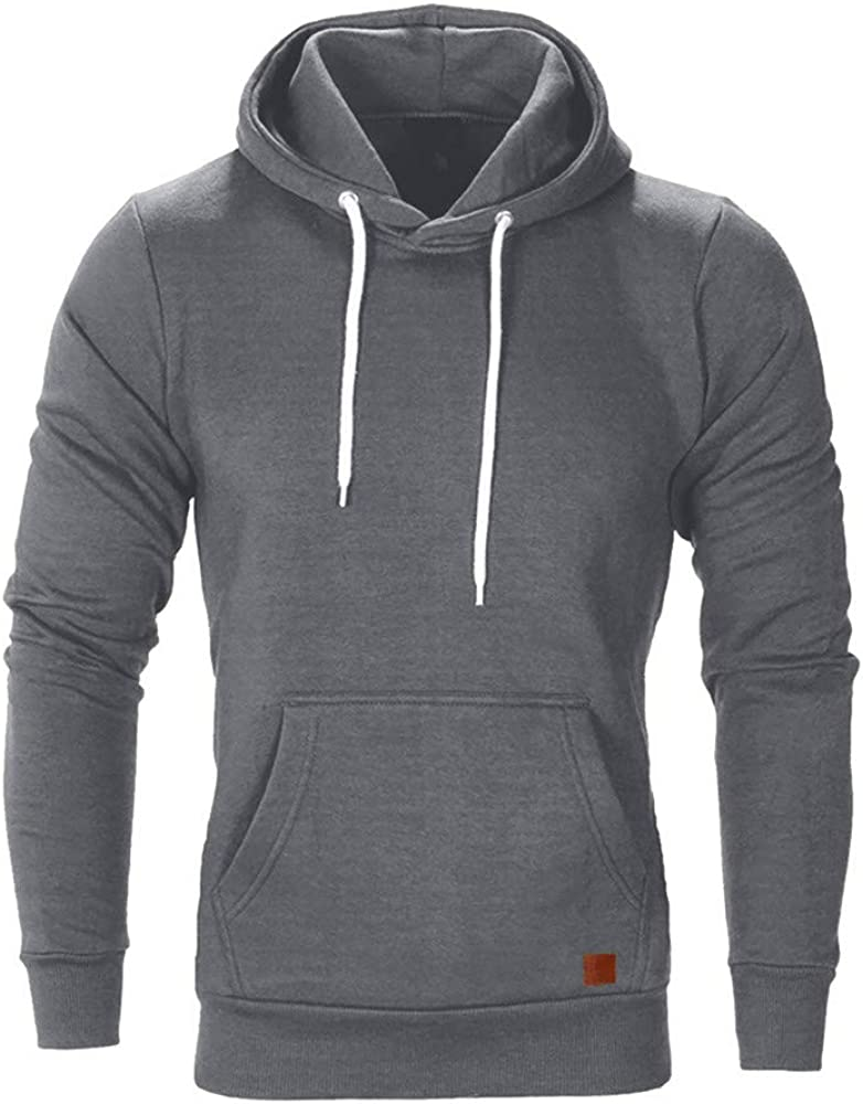 Hoodies for Men Loose Long Sleeve Athletic Sport Pullover Casual Plain Autumn Sweatshirts Comfy Workout Tops
