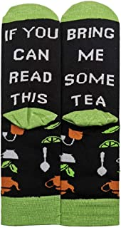 XIMIXI Fun and Novelty Cotton Crew Socks for Men Boys, If You Can Read This Bring Me Some Tea Mid Calf Mens Socks for Wint...