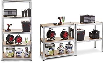 WOLFGANG Etagere de Rangement Bois et Metal MDF, Maximum de 175 kg, Hauteur 180 cm, Stockage pour Garage Bricolage Cuisine...