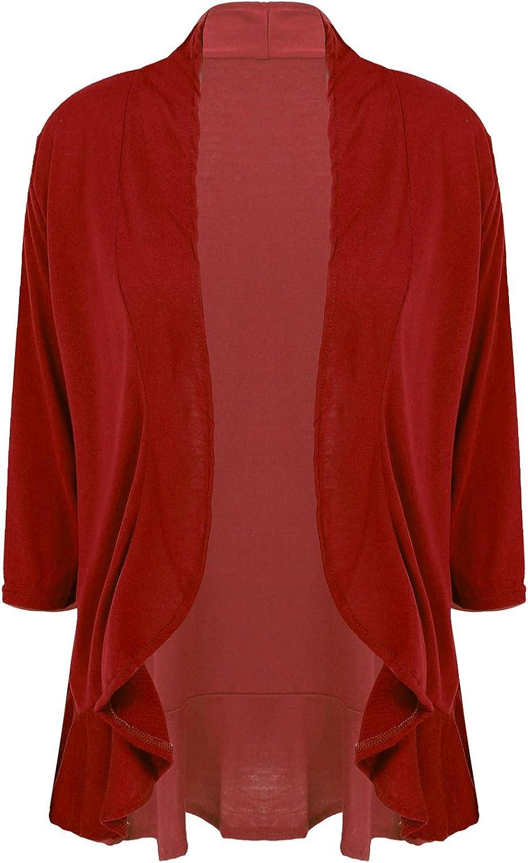 ranrann Women Open Front Cardigan Sweaters Lightweight Long Sleeve Shrugs Casual Outerwear