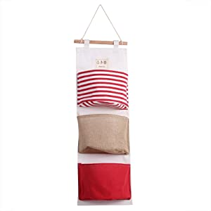 Zerodis Pockets Hanging Storage Bag Cotton Linen nbsp Wardrobe Wall Pouch Toys for Bedroom  Kitchen  Bathroom Red