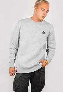ALPHA INDUSTRIES Men's Basic Sweater Small Logo Sweatshirt, Gris, 37.13