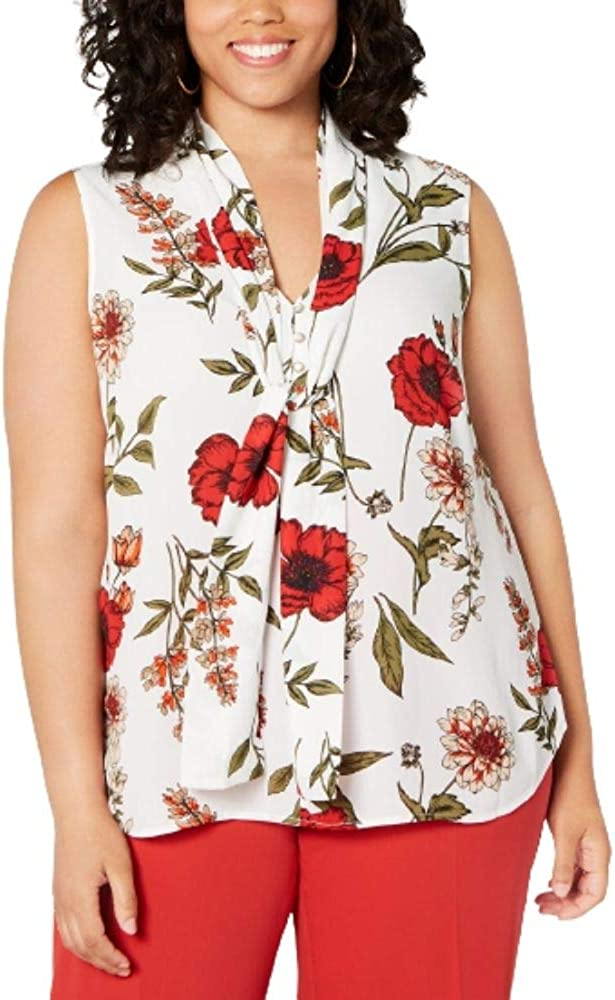 Bar III Women's Ivory Floral Sleeveless Tie Neck Blouse Wear to Work Top Plus Size 3X -Ivory/Red Multi