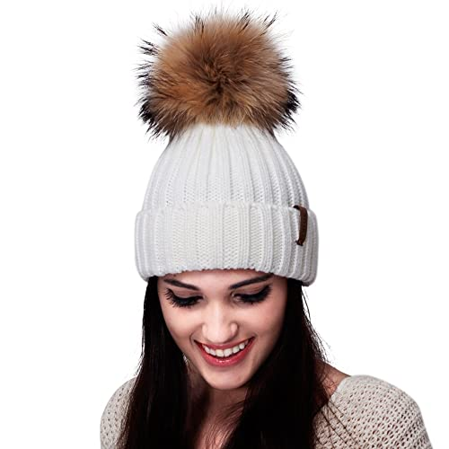 FURTALK Womens Knit Winter Beanie Hat Faux Fur Pom Pom Bobble Hat Beanie for  Girls a4460b1ea743