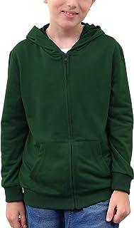 NAVINS Boy's Long Sleeve Casual Classic Solid Full Zip Hooded Sweatshirt Jacket Tops for 4-14T Kids (Green, 8Y, 05)