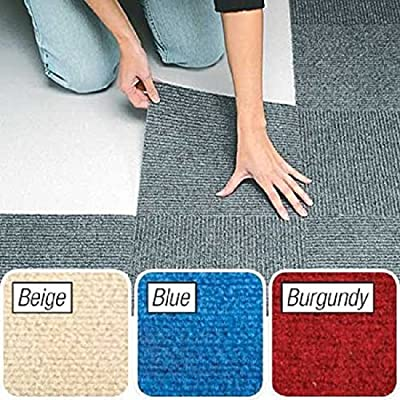 "Peel and Stick Berber Carpet Tiles 12""x12"" Set of 10"