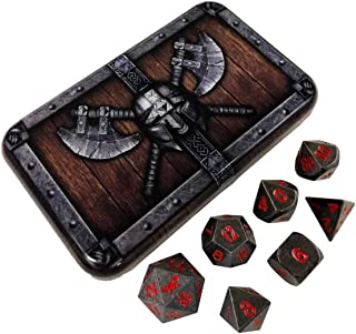 Butcher's Bill Metal Dice - Gunmetal Gray Metal Finish with Red Numbers | Solid Metal Polyhedral Role Playing Game (RPG) Dice Set (7 Die in Pack) with