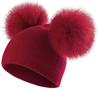 ECYC Bambini Cappello Toddler Bambini Bambino Inverno Caldo Cappello di Lana Knit Beanie Fur Pom Pom Cappello per Bambino ...
