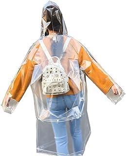 Freesmily Super Transparente Impermeable Impermeable para Mujer de Eva Reutilizable con Capucha con cordón