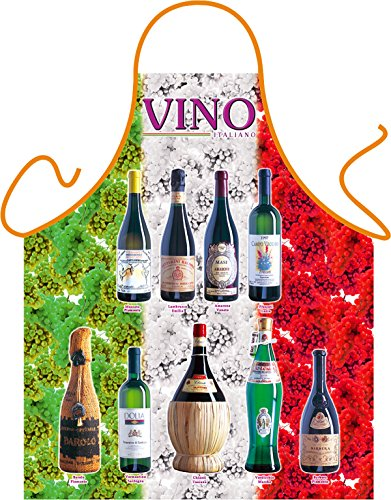Goodman Design  Witzige Schürze mit Motiv - Vino, Weinflaschen, Wein - Grillschürze, Kochschürze, Backen, Geschenk, Geburtstag - Mit gratis Urkunde