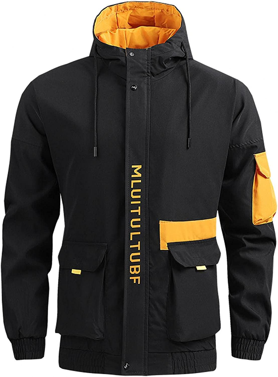 SUIQU Men's Casual Bomber Hooded Jackets Zipper Pocket Cargo Style Autumn & Winter Jacket Coat Blouse Top with Hood