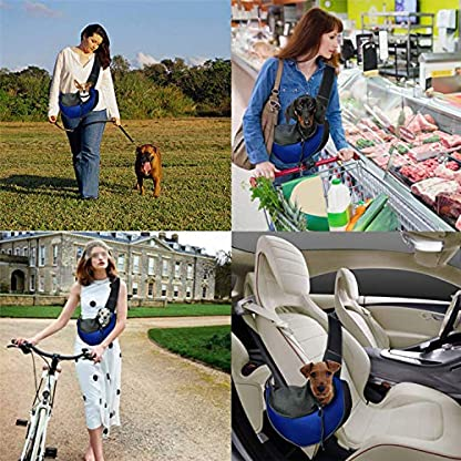 Pet Dog Cat Sling Carrier Bag Puppy Shoulder Carry Bag Hands Free Dog Papoose Carrier with Adjustable Shoulder Strap Pet Travel Carrier Tote Bag with Breathable Mesh Pouch for Outdoor Walking Subway 2