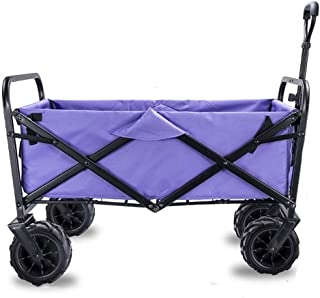 Acyon Garden Cart Foldable Pull Wagon Hand Cart Garden Transport Cart,Folding Camping Cart with Lining,4 Wheeled Collapsible Festival Trolley,Portable Garden & DIY Waste Wagon,90KG Capacity,D:Purple