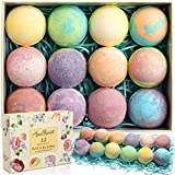 Flower Scented Bath Bombs - Gift Set Of Large Fizzy Bathbombs With Organic Essential Oils - Natural Vegan Oil Bubble Bomb And Moisturizing Fizzies Best For Women - 12 Pack