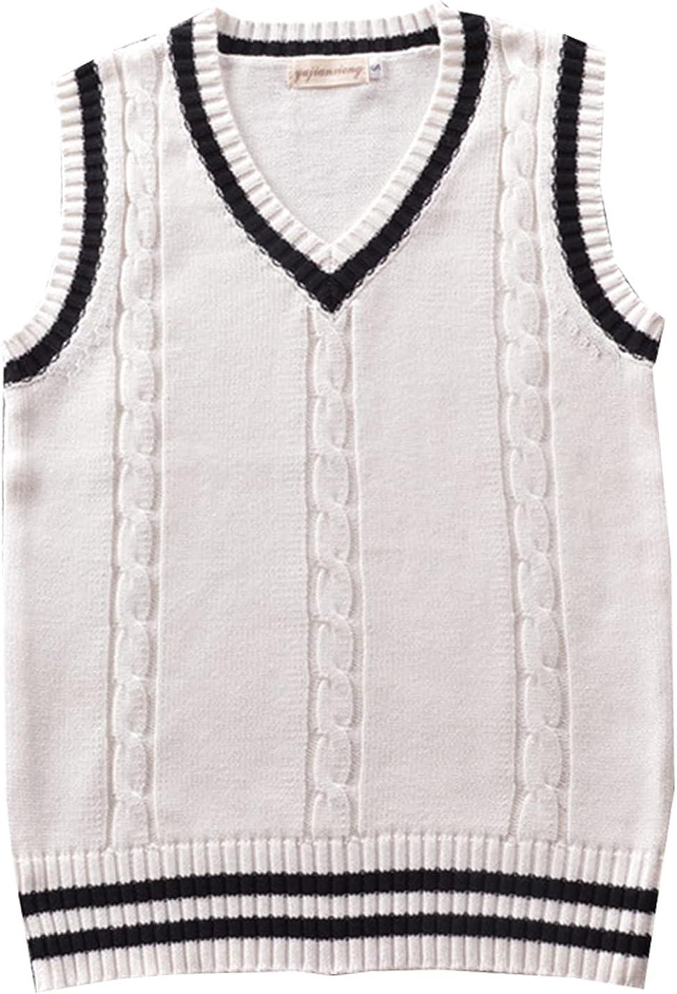 Kissonic Women's Sleeveless V Neck School Uniform Sweater Vest Cable Knit Pullover Gilet