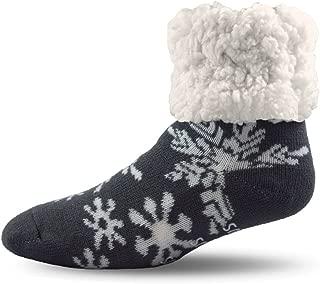 Holiday Slipper Socks for Women & Men, Christmas Socks w Non-Slip Grippers Faux Fur Sherpa