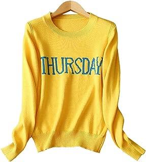 EVEDESIGN Women's Funny Week Days Knit Sweater Crew Neck Graphic Pullover Slim Sweatshirt