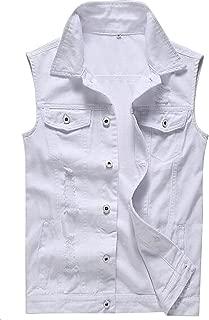 Only Faith Men's White Jeans Vest Fashion Sleeveless Denim Jacket with Holes