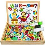 COOLJOY Puzzles Enfant en Bois Magnétique, Jigsaw avec Tableau Noir de Chevalet à Double Face Jouets Educatif pour Bambin Enfants Fille -Lettres et Chiffres - 100 Pièces - Puzzle Aimant