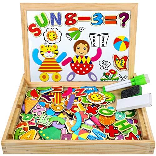 COOLJOY Puzzle Magnetico Legno, Giocattolo di Legno Bambini con Double Face Disegno cavalletto Lavagna, apprendimento educativo per Bambini (Modello Numerico)