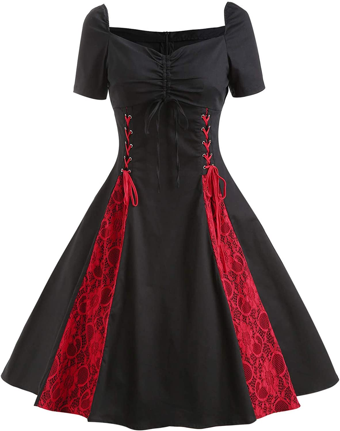 Wellwits Women's Lace-up Lace Insert Sweetheart Gothic Party Vintage Dress
