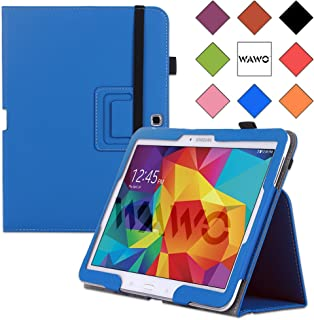 WAWO Samsung Galaxy Tab 4 10.1インチタブレット スマートカバー クリエイティブな二つ折りケース ブラック 9.8 x 0.6 x 7.2 inches 2861533